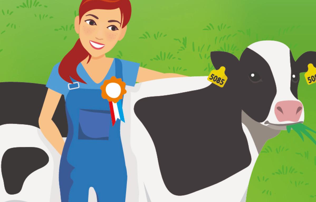 Cartoon boerin met koe