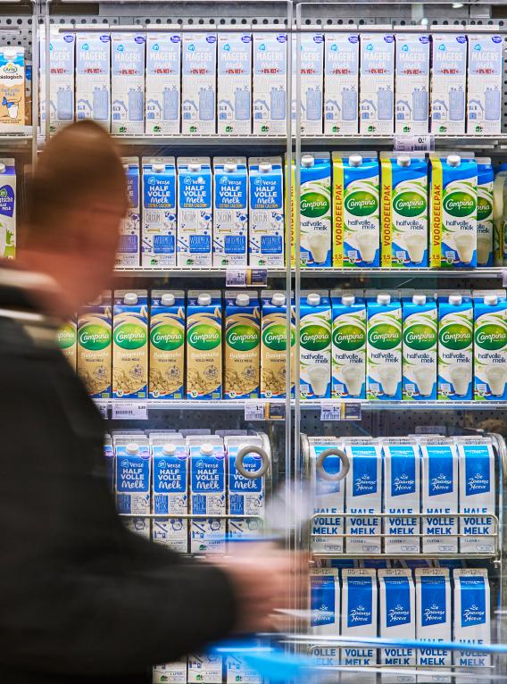 Melkschap in de supermarkt