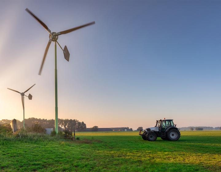 Windmolens en een tractor in het weiland